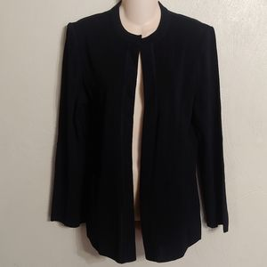 Ming Wang open front black sweater jacket size M